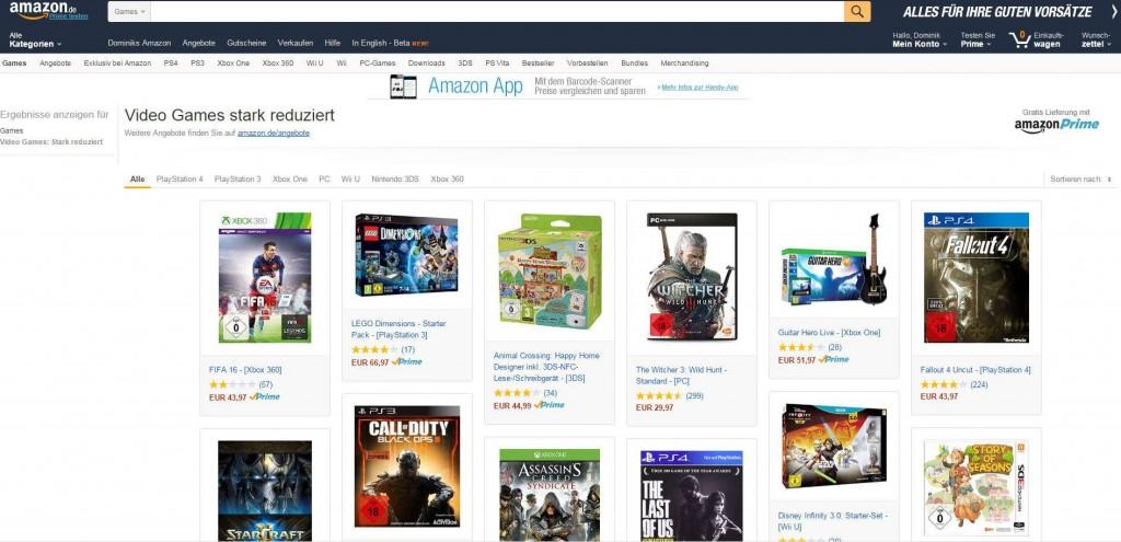 Amazon Video Games stark reduziert